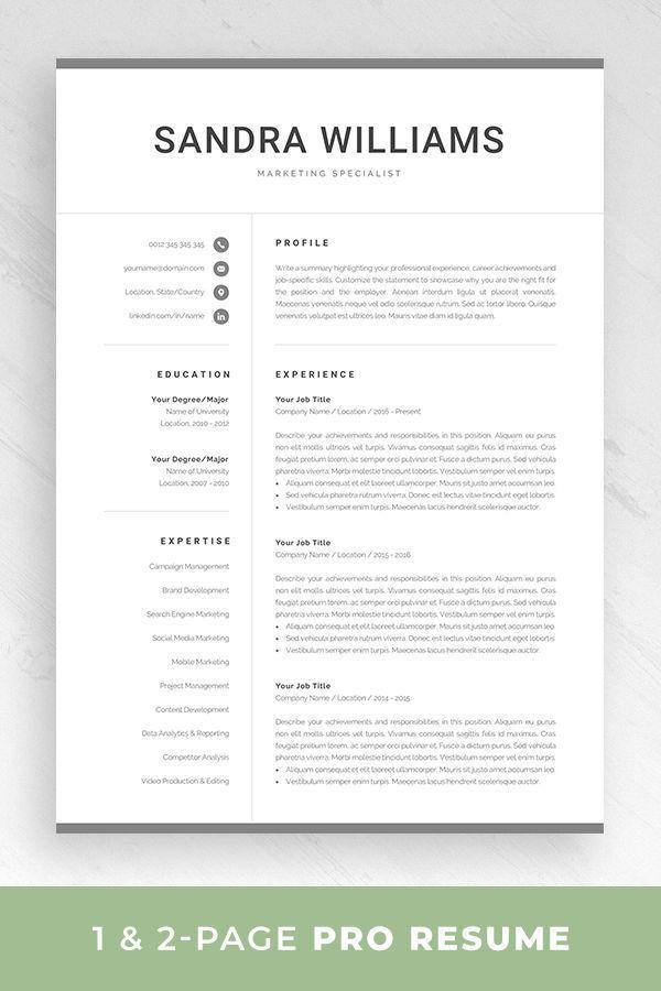 Professional Resume Template For Word Modern Marketing Cv Etsy Design De Curriculo Emprego Design