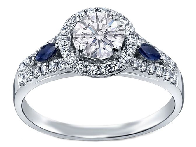 Diamond Halo Engagement Ring Blue Sapphire Accents in 14K White Gold