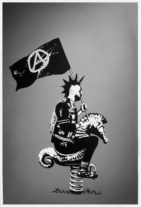 Punk riding a playground seahorse, sporting an anarchy flag. #Punk #Anarchy #Art
