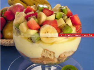 Receita de Pavê de salada de frutas