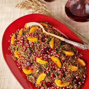 Orange quinoa salad with beetroot and pomegranate