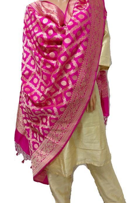 Pink Banarasi Katan Silk Dupatta with Golden Raw Silk Fabric