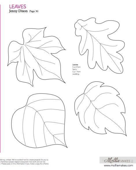Листья из ткани, выкройка
