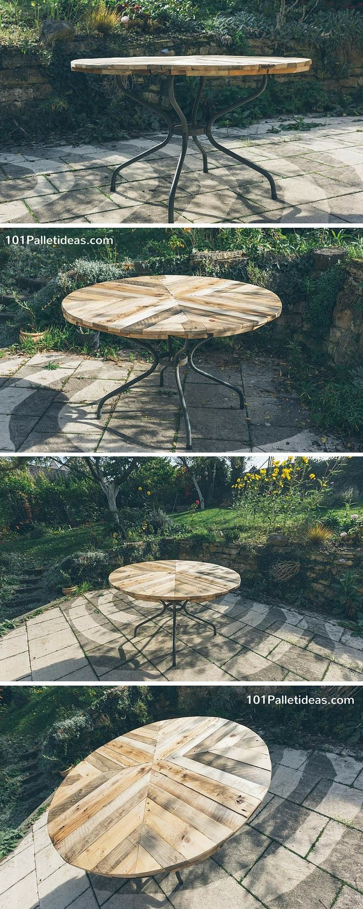 Round Top Table Made of Pallets - #DIY - 101 Pallet Ideas