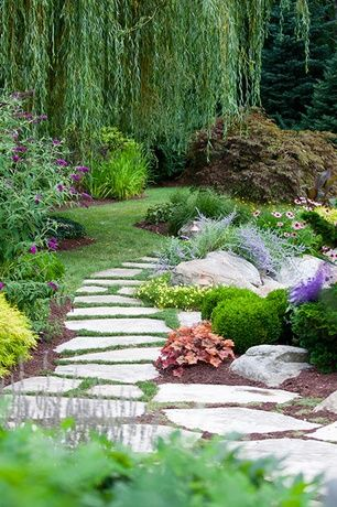 Traditional Landscape/Yard with exterior stone floors, Private   garden, Pathway, Private backyard, Stone pavers, Garden  Love the weeping willow!