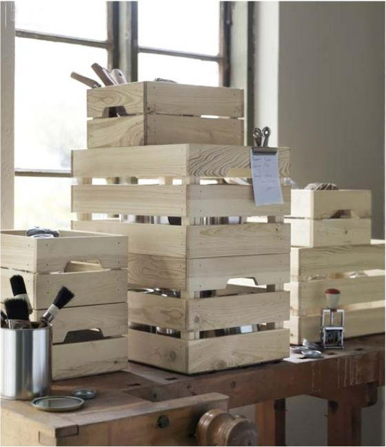 Poppytalk: 12 New Products From IKEA for Spring  KNAGGLIG storage crates Boxes can be stacked on top of each other and used to store or carry anything from paint cans to heavy bottles.
