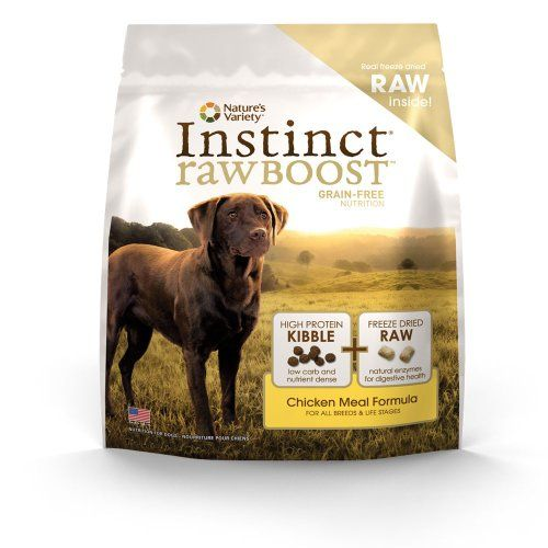 Instinct Raw Boost Grain-Free Chicken Meal Formula Dry Dog Food by Nature's Variety, 23.5-Pound Bag The great nutrition of Instinct grain-free dry dog food (no fillers or soy) boosted with freeze-dried raw pieces - proven to provide great taste and nutrition. Helps your dog reach and maintain an ideal weight along with proper portions and exercise. May provide relief from most food allergy symptom... #Instinct #Pet_Products