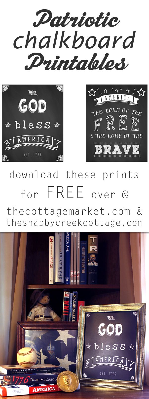 free chalkboard inspired Fourth of July printables