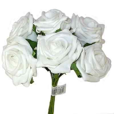 4 X BUNCHES (24 FLOWERS) OF WHITE ARTIFICIAL FOAM ROSES 5.5CM DIA WEDDING DECOR…