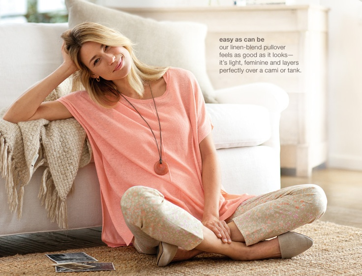 easy linen-blend pullover, perfect tank, perfect side-zip print ankle pants