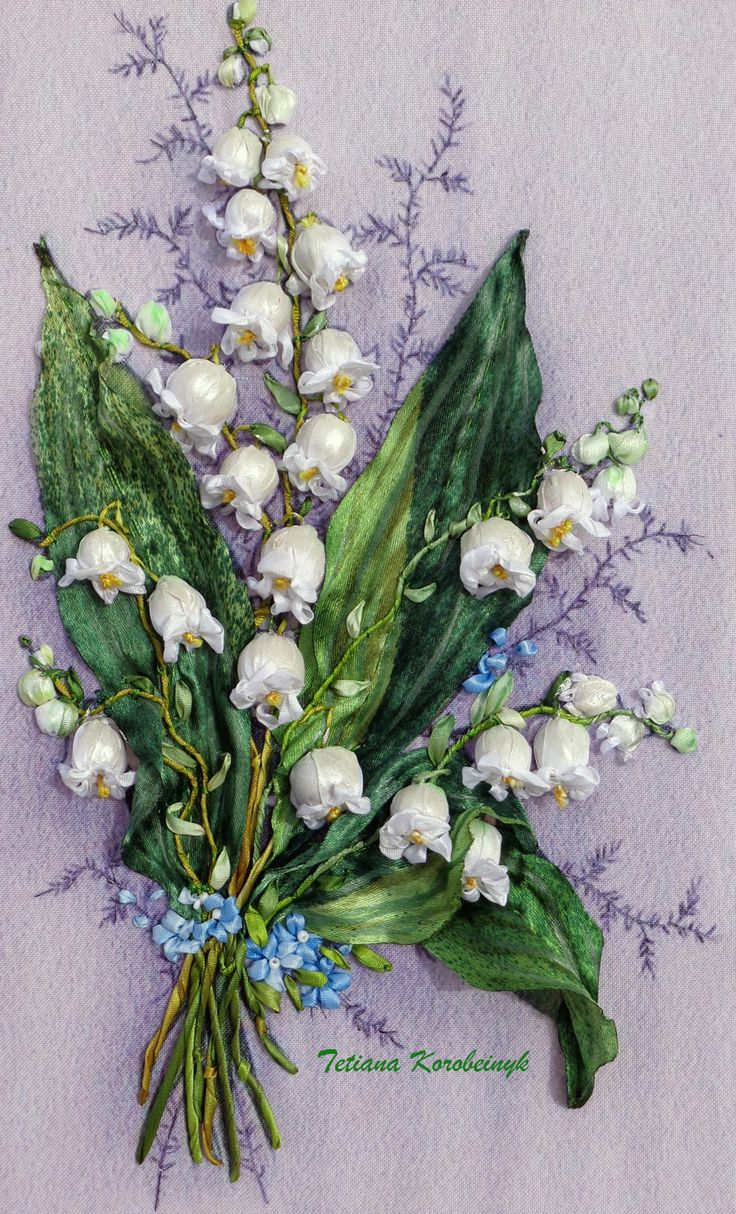 Picture, lilies of the valley,embroidered springs flowers, silk ribbon embroidery, 3D effect, di SilkRibbonembroidery su Etsy