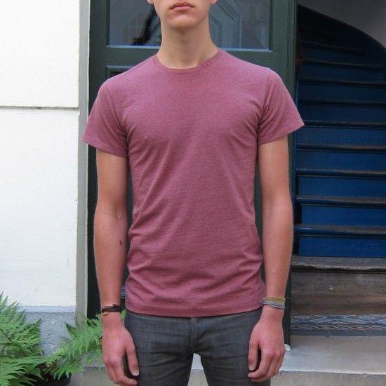 T-shirt bio Rose chiné homme et femme fabriqué à Paris 100% made in France t-shirt col rond luxe philippeGaber