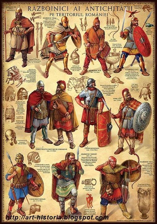 "Thracian nobleman, top 2nd from right. Has lots of Greek lookng armour with the addition of a groin protector at the bottom of the cuirass, he wears greaves, which were out of fashion in Greece and has a crecent shaped shield. 3rd from the left/top row, is a Scythian horse archer. Middle: left, two Dacian/Thracian noble men, 3rd from left/mid Roman Imperial legionary, bottom left; a Roman cavalryman with a ""parade"" face mask helmet.:"