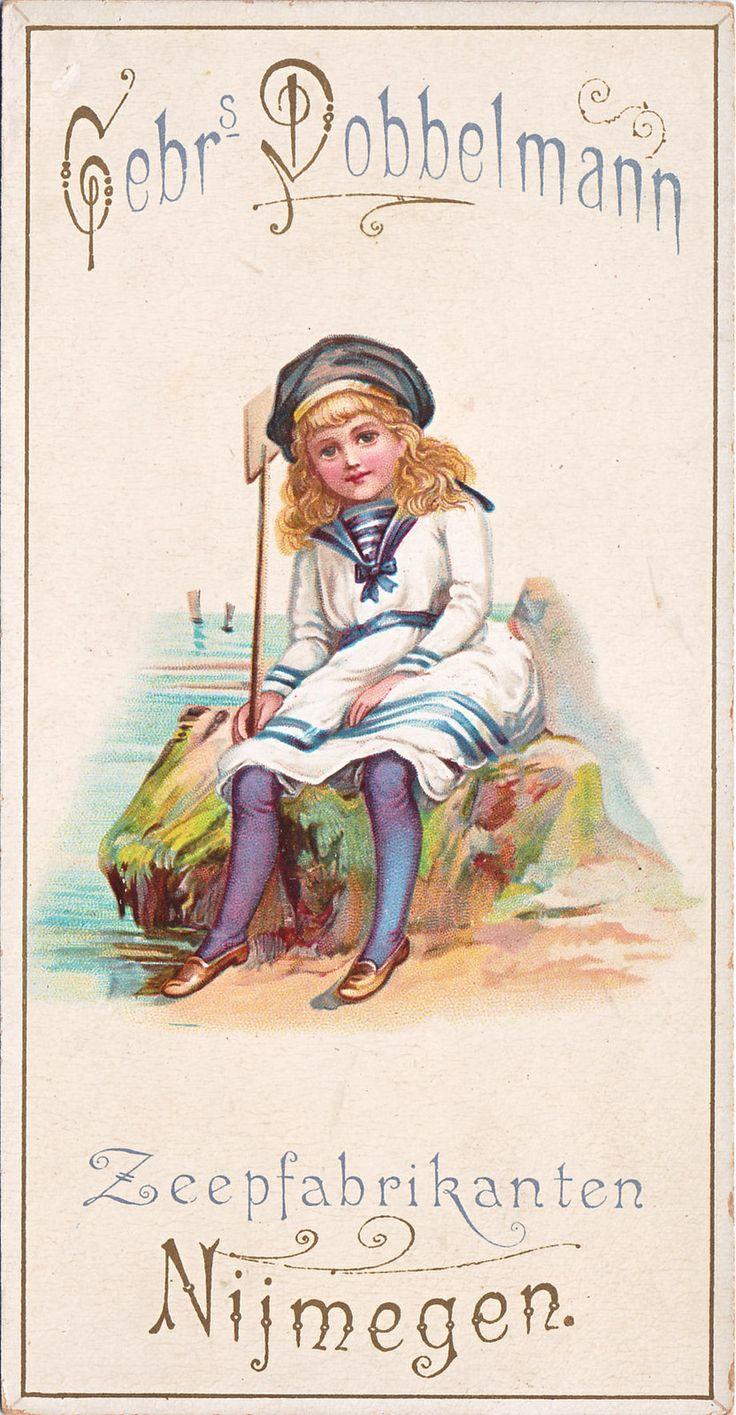 https://flic.kr/p/MAMXqg | chromo gebrs dobbelmann  - zeepfabrikanten - nijmegen -girl in sailor suit seated on rock by beach