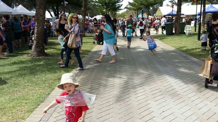 The Mandurah Foreshore hosts many events throughout the year. This is the Sunday market through summer. A wonderful space with shady trees, large playground, bike and pedestrian paths...all positioned along the Peel Inlet in Mandurah, Western Australia. It's a great place to visit over a weekend or longer for a short break from the big city in Perth.