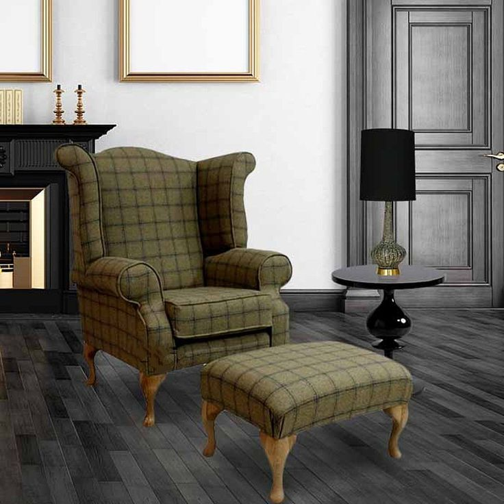 Choose your tweed check fabric Chesterfield Queen Anne Chair and matching Chesterfield footstool at DesignerSofas4U. Quality handmade Chesterfield furniture #ChairDrawing