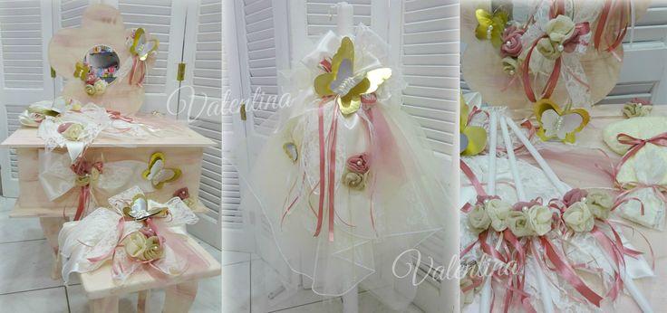Βαπτιστικό Πακέτο με θέμα την πεταλούδα. Ξύλινο μπουντουάρ με σκαμπό στολισμένο με χειροποίητες μεταλλικές πεταλούδες και λουλούδια από γάζα σε αποχρώσεις σάπιο μήλο!