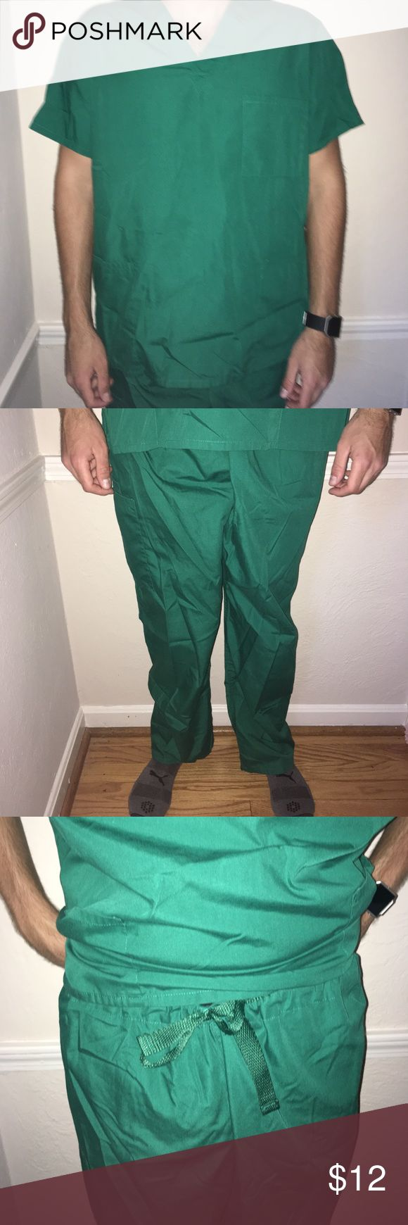 Mens scrub set Size L top and XL bottoms mens scrub set (top and bottom included). Top is v neck, bottoms have draw string tie. EUC. Cherokee brand. Color is HUNW (hunter green) Cherokee Other