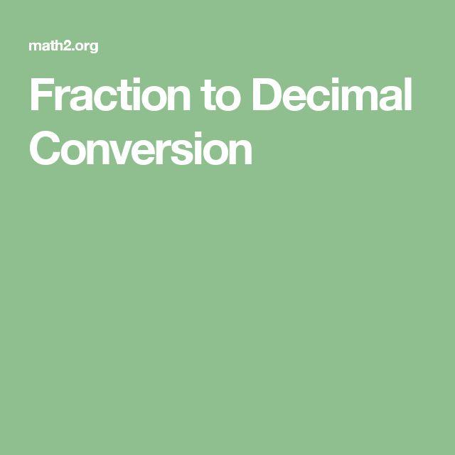 Fraction to Decimal Conversion