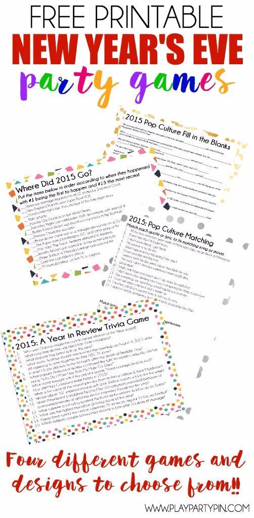 .~Looking for New Years party ideas? These four great printable New Years Eve Party Games are great party games for teens and adults! Test to see who can match up quotes from popular summer movies or who can tell you when One Direction announced their break or when Jennifer Aniston got married. Or how about that Game of Thrones won drama of the year and Jennifer Lawrence wants more money for actresses. I seriously can't wait to play #4 at my own new years eve party this year~.