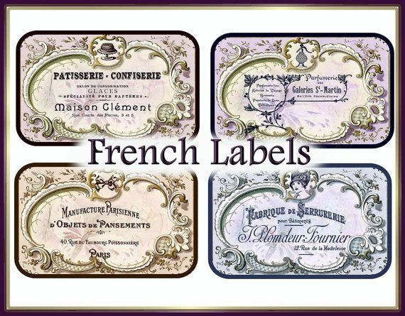INSTANT DOWNLOAD Paris Chic Vintage Calling Card Labels for Altoid Tins, Jars, Candles Digital Printable  e