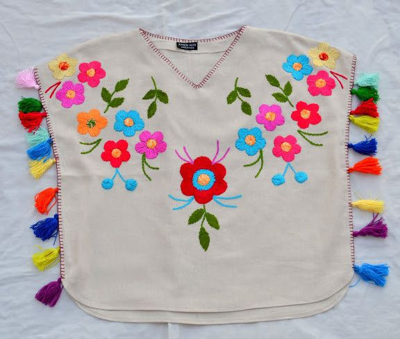 Beautiful multicolor embroidery kaftan style blouse. XS-XXL