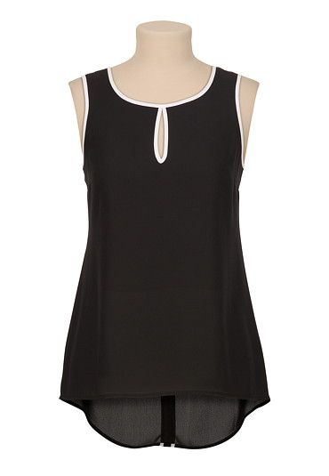 High-low chiffon contrast trim keyhole tank (original price, $26) available at #Maurices