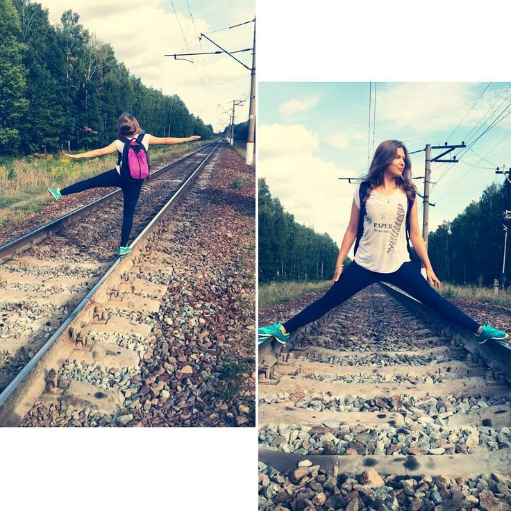 «Железнодорожные пути - отличное место для растяжки   #yogaontheroad  #sport #railway #jusyforfun #fun #russia #рекламаржд #ржд  #железнаядорога #спорт…»