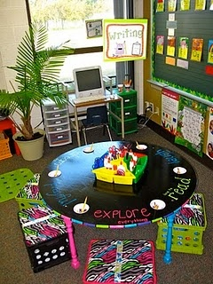 Super cute writing center area - I love the round table, I