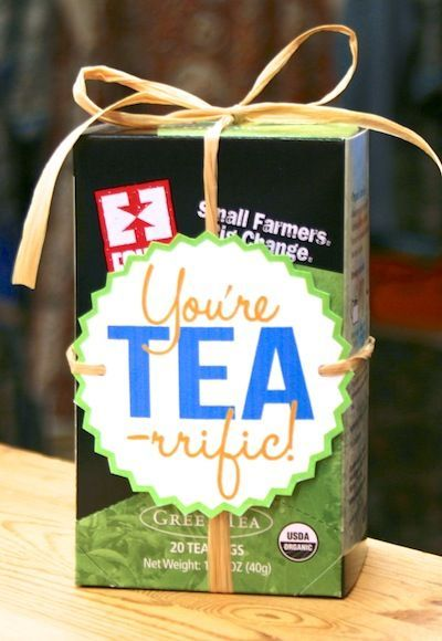 Here's a cute & delicious DIY thank you gift idea featuring our fair trade  Equal Exchange Organic Tea Bag Boxes! Downloadable artwork and instructions  below:  Equal Exchange Organic Tea Bags Box 5.50 Flavor: Select Flavor Mint  GreenBlackEnglish BreakfastGreenRooibosChaiPeppermintChamomile Quantity:  Add To Cart