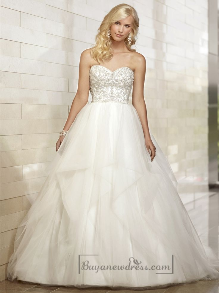Gorgeous Sweetheart Beaded Bodice Ball Gown Wedding Dresses