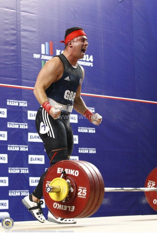 Sonny Webster, GB weightlifter celebrating his 183kg C&J at the 2014 Junior World Championships