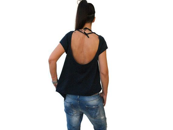 Blue Women Open back Top / Summer women top / Balloons top / Cotton summer sexy top / Backless blue top / Applique balloons top