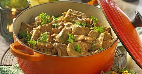 Recept krämig köttgryta med ädelost