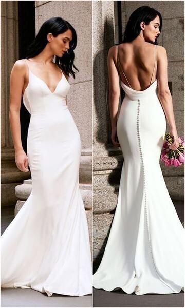 Simple Mermaid Spaghetti Straps Wedding Dress,Sexy Open Back Wedding Dress from Sancta Sophia