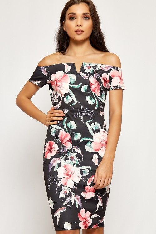 Tracey Floral Bardot Sweetheart Bodycon Dress #prom #summer #2017 #fashion