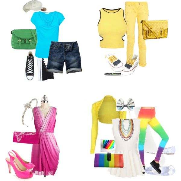 """Adventure Time"" Inspired outfits. Finn the Human, Jake the Dog, Princess Bubblegum & Lady Rainicorn"