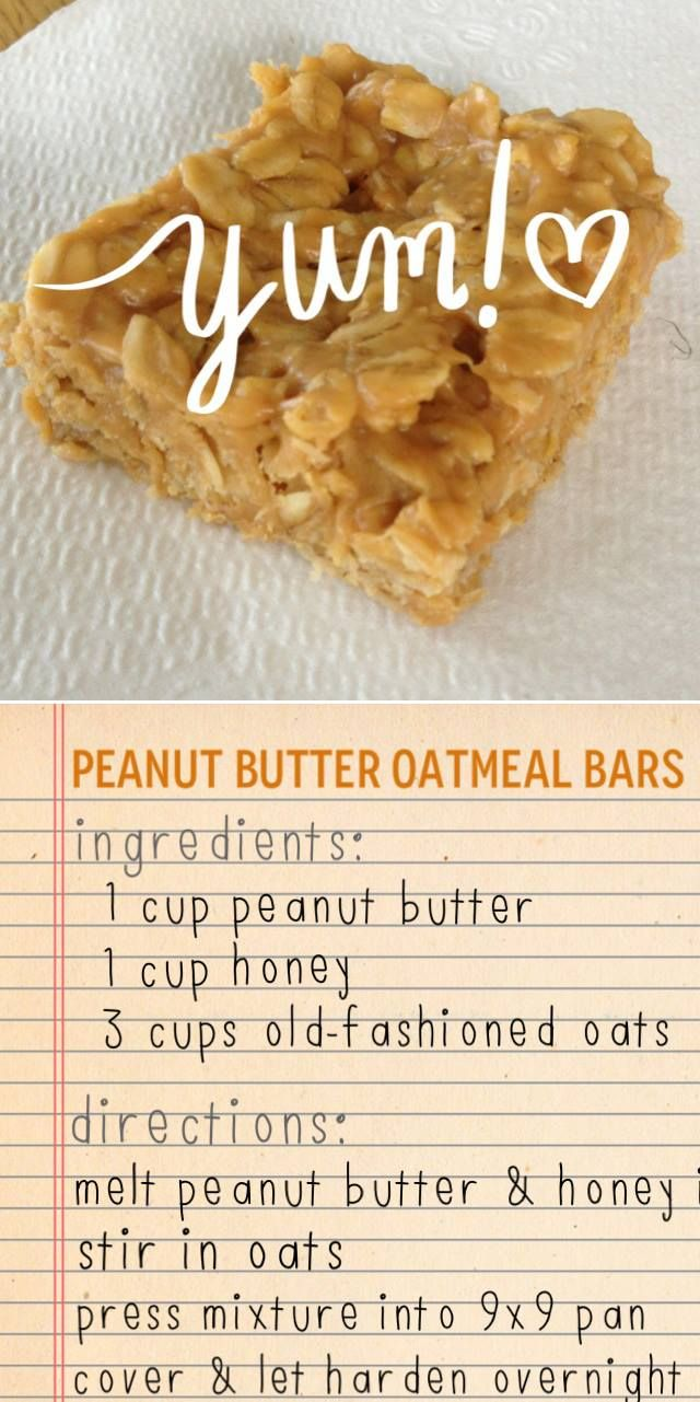 Peanut Butter, Honey, Oatmeal Squares. Only 3 ingredients!