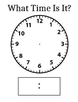 What Time Is It? is a clock template that is great for sheet protectors. Place the template in the sheet protectors and have students draw and write the give time. A great, hands-on activity that engages students in learning about telling time.