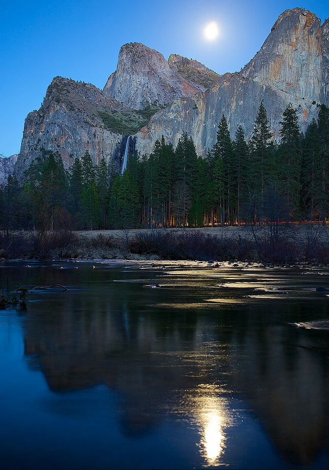 Nearly-full moon cast gorgeous light over Yosemite Valley.