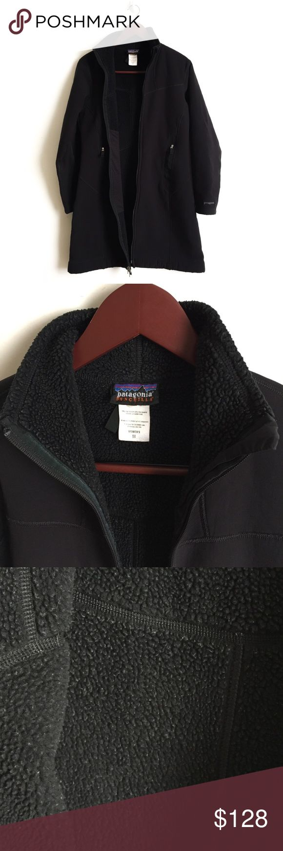 """Patagonia Synchilla Coat ▫️Patagonia Synchilla Jacket  ▫️Color: Black  ▫️Measures approximately:      Shoulders: 15.5""""      Sleeves: 23.5""""      Length: 35.5""""      Pit-to-pit: 19.0""""      Bottom: 23.0"""" ▫️Condition: Used, Normal wear, Interior fleece pilling (see picture 3) 🚫No Trades🚫 Patagonia Jackets & Coats"""