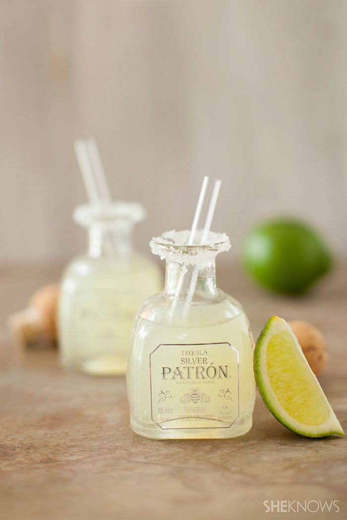 Mini margarita shots-- this recipe calls for just Patron and lime juice, but I would add some Cointreau and Chambord for a perfect margarita.