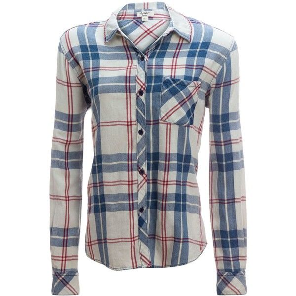Dylan Super Washed Indigo Plaid 1 Pocket Shirt ($102) ❤ liked on Polyvore featuring tops, plaid shirts, roll sleeve shirt, blue plaid shirt, blue button-down shirts and long button up shirt