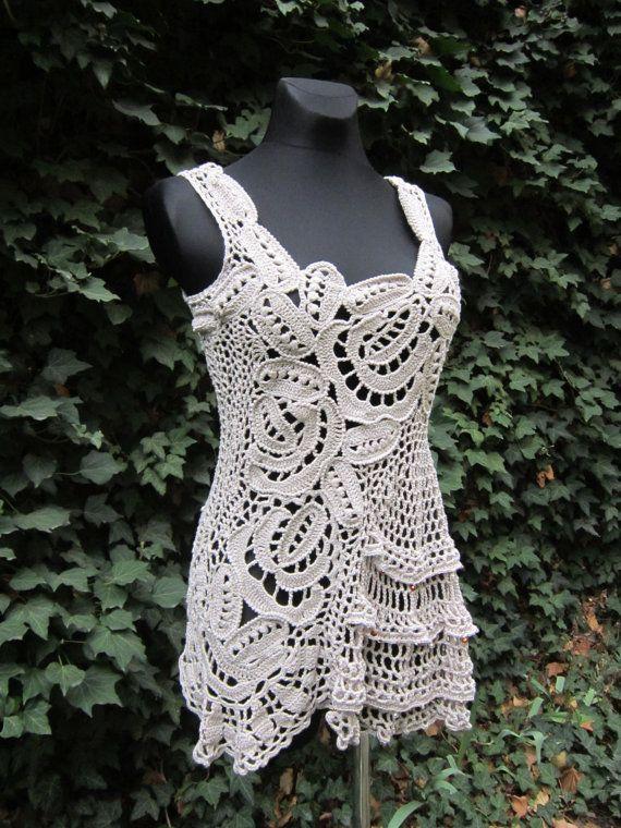 Elfenbein Crochet Lace Dress, irischer gehäkelt, Tunika Kleid, böhmische Verschleiß, Freeform häkeln