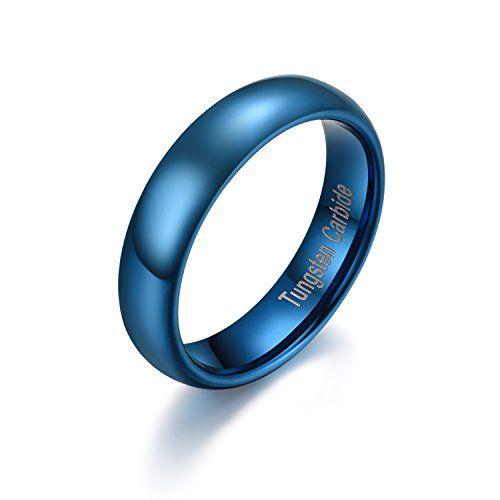 メンズ タングステン リング 指輪,研磨 クラシック シンプル 結婚指輪, ブルー KZUN…