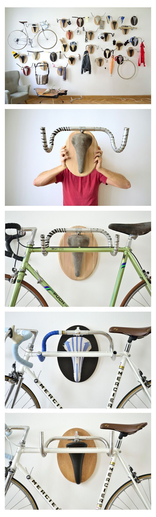 Almost like a skull rack- but a bikes bar and seat as a current bike (or anything) rack!:
