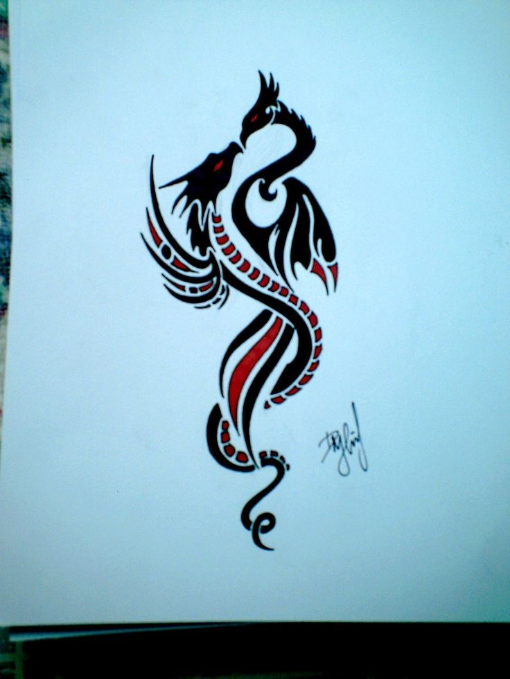 my next tattoo i want something like this - slightly more feminine and less tribal looking. I love the idea of the phoneix (female) wrapped around by the dragon (male).. signifying my hubby and I and the bond we have.