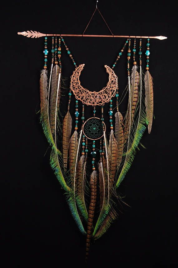 Arrow Copper Moon Dreamcatcher green dreamcatcher brown