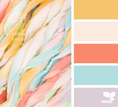 Yellow, light pink, coral, blue, light purple/gray. Color scheme for one or both of girls' rooms when a bit older.