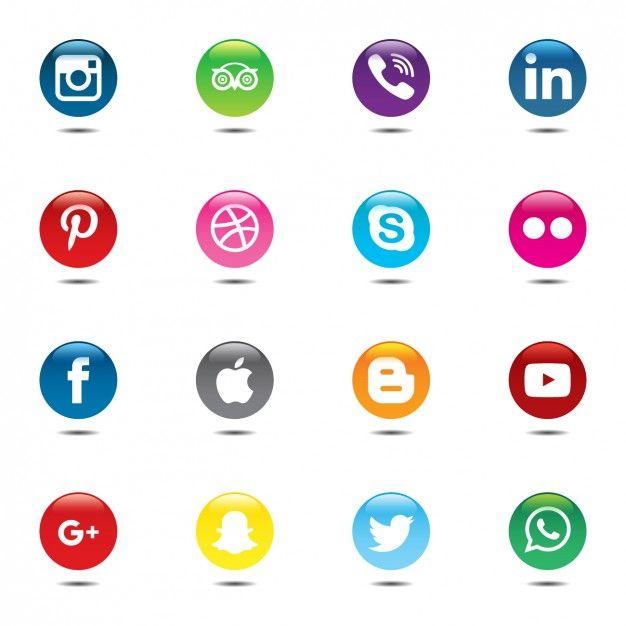 Ensemble coloré et circulaire d'icônes de médias sociaux Vecteur gratuit                                                                                                                                                                                 Plus